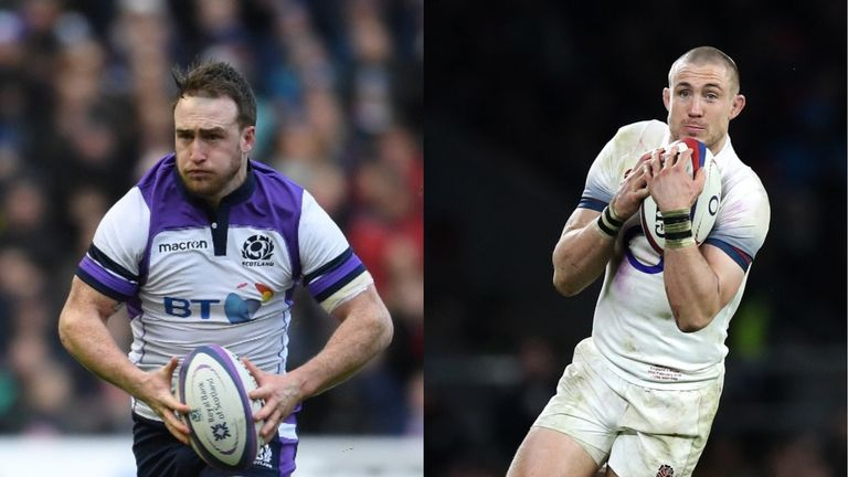 Scotland's Stuart hoog vs. England's Mike Brown
