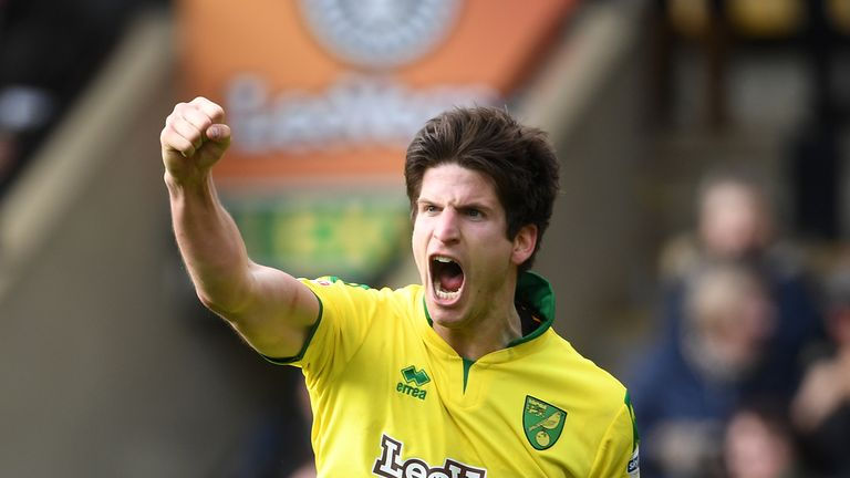 Norwich City's Timm Klose celebrates scoring a late equaliser for his side during the Sky Bet Championship match at Carrow Road, Norwich.