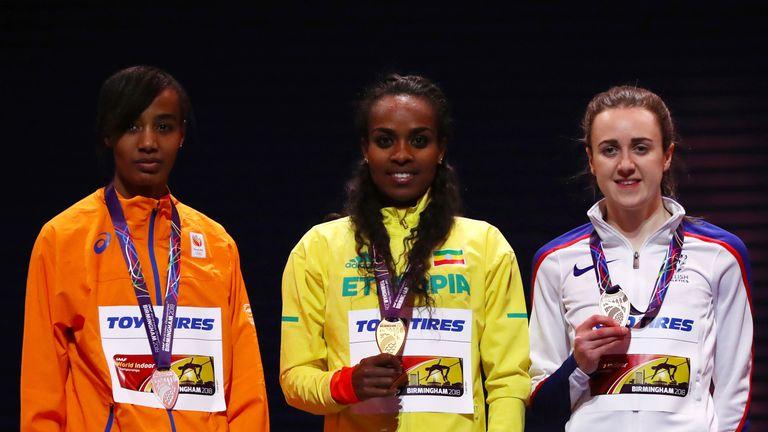 Laura Muir (r) claimed a bronze medal in Birmingham