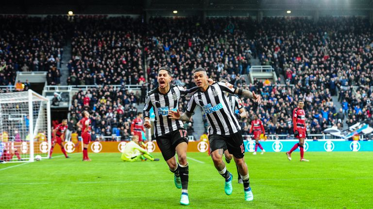 Ayoze Perez celebrates after scoring Newcastle United's winner