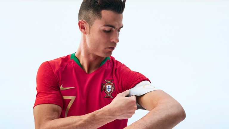 Cristiano Ronaldo models Portugal's home kit for Russia 2018. Pic: Nike