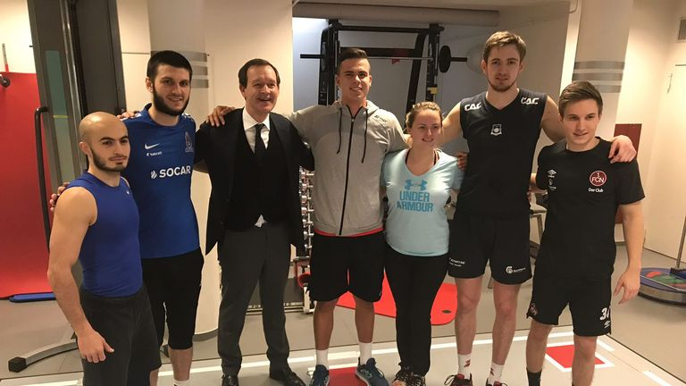 Daniel (centre) introduced Adam to his support team at his rehab centre