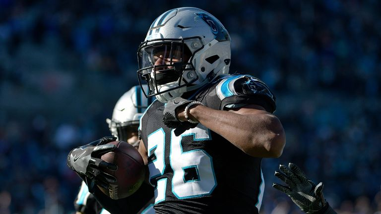Daryl Worley of the Carolina Panthers celebrates an interception against the Minnesota Vikings