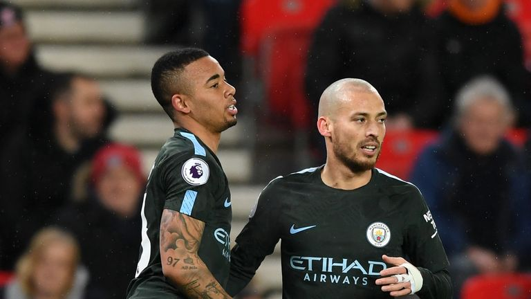 David Silva celebrates scoring for Manchester City with Gabriel Jesus