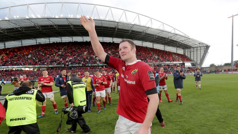 Ryan waves goodbye to Munster supporters in May 2017