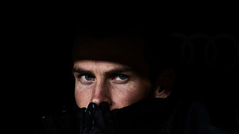 Gareth Bale looks on from the Real Madrid bench