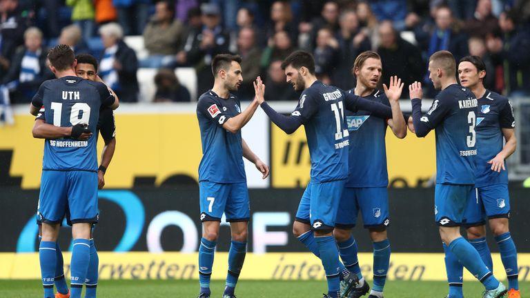 Hoffenheim celebrate victory over Wolfsburg