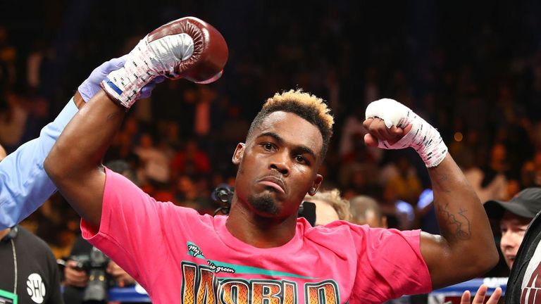 Jermell Charlo celebrates his first round knockout against Erickson Lubin during their WBC Junior Middleweight Title bout at Barclays Center of Brooklyn on October 14, 2017
