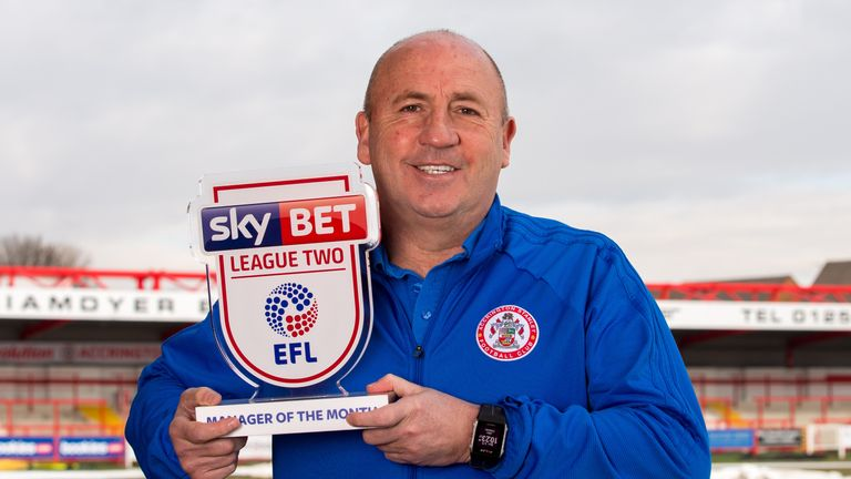 John Coleman is the Sky Bet League Two Manager of the Month for February