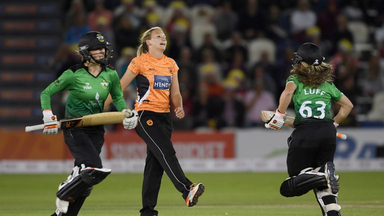Katie George took three wickets in three innings during the 2017 Women's cricket super league