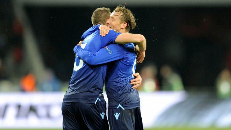 Lazio defender Stefan De Vrij celebrates his goal