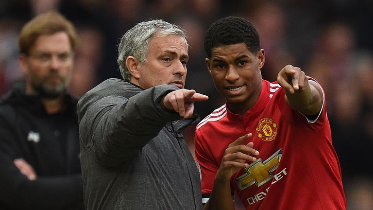 Jose Mourinho gives some advice to Marcus Rashford, one of four Manchester United players in England's World Cup squad