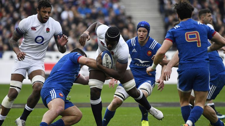 Maro Itoje on the attack for England