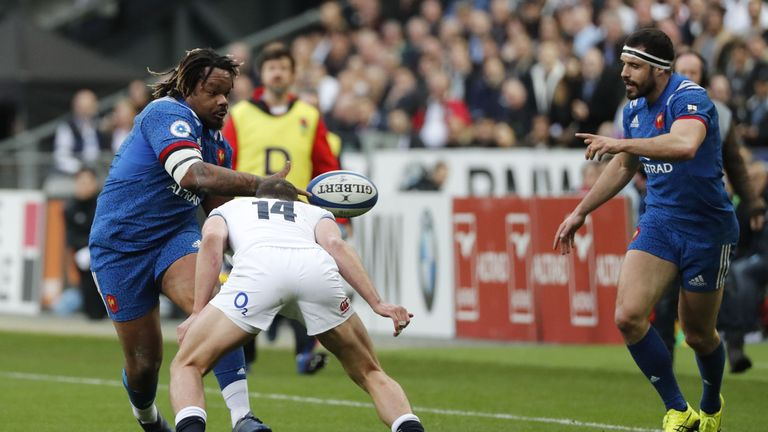 Mathieu Bastareaud looks to offload against England