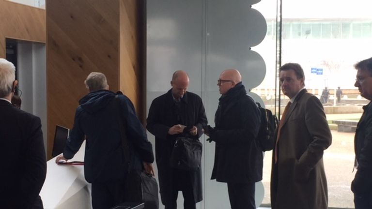 Mike Riley (centre) was seen leaving the City Football Academy on Tuesday following his meeting with Txiki Begiristain