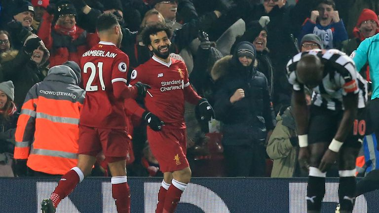 Mohamed Salah celebrates with Alex Oxlade-Chamberlain after giving Liverpool the lead
