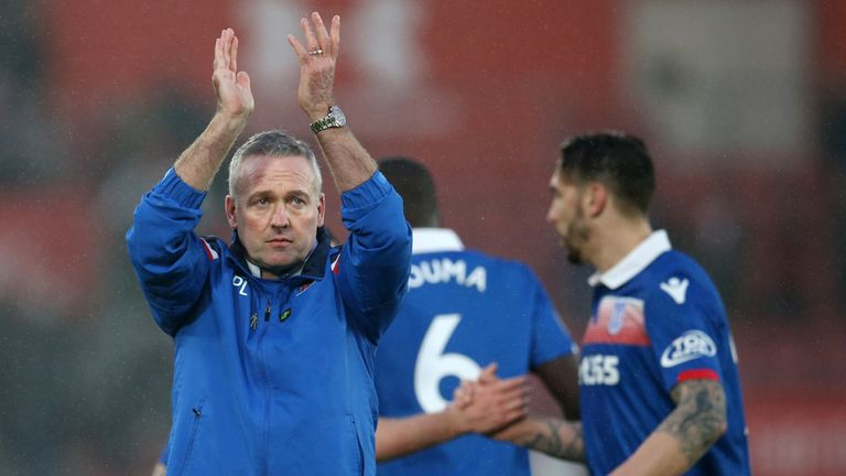 Paul Lambert applauds Stoke City fans after the 0-0 draw with Southampton