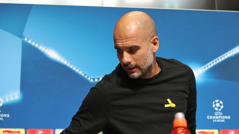 Guardiola's team play Basel in the last 16 of the Champions League on Wednesday - with the manager intending to wear the yellow ribbon again