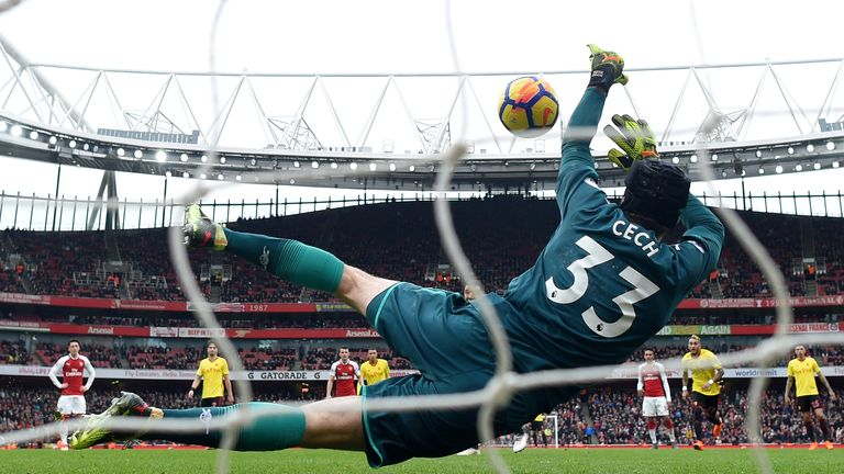 Troy Deeney sees his second-half penalty saved by Cech