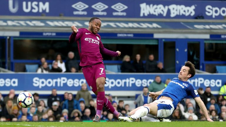 Raheem Sterling adds a third for City in the first half