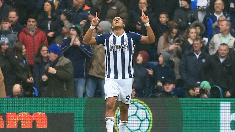 Salomon Rondon celebrates after scoring for West Brom against Leicester
