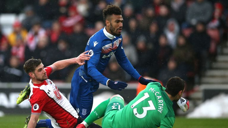 Maxim Choupo-Moting is denied by a last-ditch Jack Stephens tackle