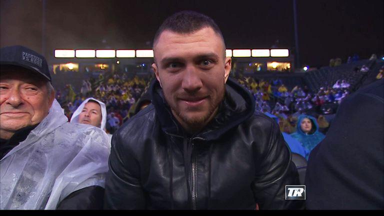Former WBO featherweight champion Vasyl Lomachenko was ringside