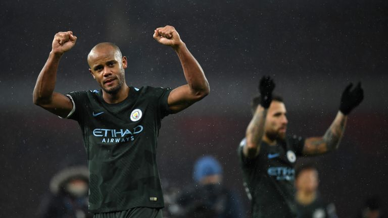 Vincent Kompany would love to clinch the title with a win over local rivals Manchester United