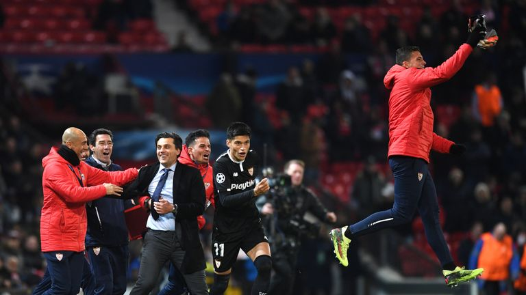 Montella led Sevilla to a memorable win over Manchester United at Old Trafford in the Champions League last-16