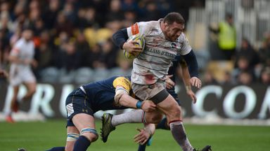 Greg Bateman barges through the  Worcester defence to score a try for Leicester