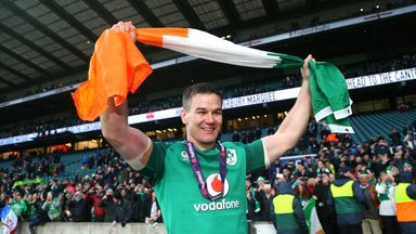 Ireland's Johnny Sexton celebrates winning the Grand Slam