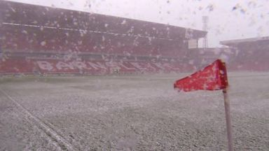 Wintry conditions affected Oakwell on Saturday morning