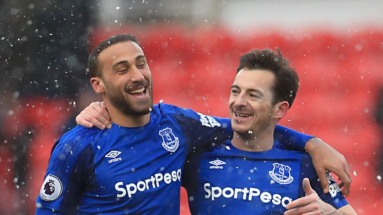 "Everton's Cenk Tosun (left) and Everton's Leighton Baines celebrate after the final whistle during the Premier League match at the bet365 Stadium, Stoke. PRESS ASSOCIATION Photo. Picture date: Saturday March 17, 2018. See PA story SOCCER Stoke. Photo credit should read: Mike Egerton/PA Wire. RESTRICTIONS: EDITORIAL USE ONLY No use with unauthorised audio, video, data, fixture lists, club/league logos or ""live"" services. Online in-match use limited to 75 images, no video emulation. No use in betting, games or single club/league/player publications."