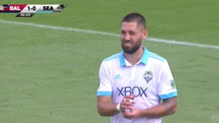 Clint Dempsey leaves the field of play for Seattle Sounders after the use of VAR led to his sending off against FC Dallas