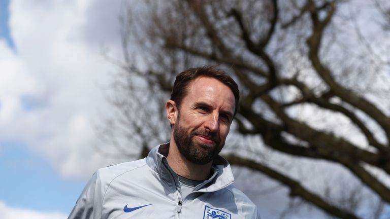 Gareth Southgate during an England training session on the eve of their international friendly against Italy