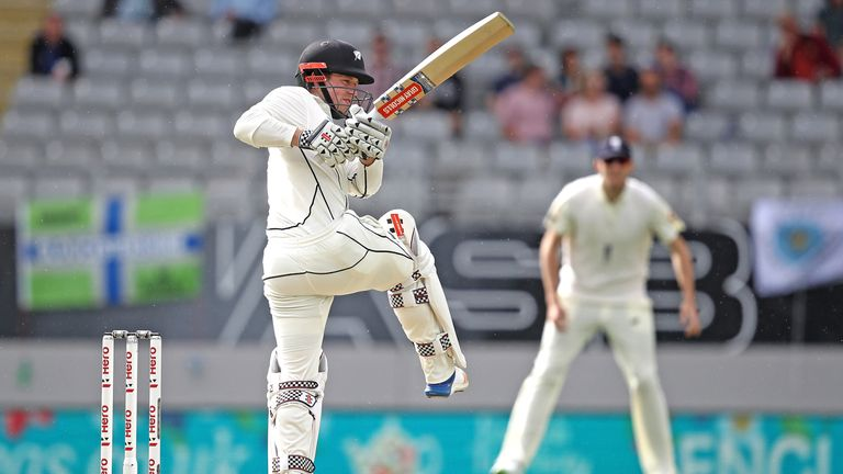 Henry Nicholls during day two of the First Test match between New Zealand and England at Eden Park on March 23, 2018 in Auckland, New Zealand.