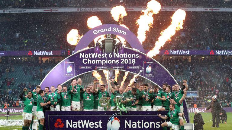 Ireland celebrate their 2018 Grand Slam Six Nations Championship