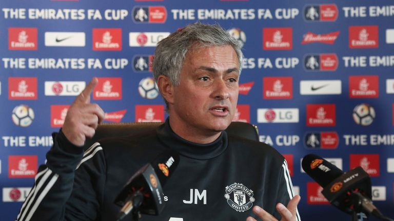 Jose Mourinho speaks during a press conference at Manchester United's Aon Training Complex on March 16, 2018