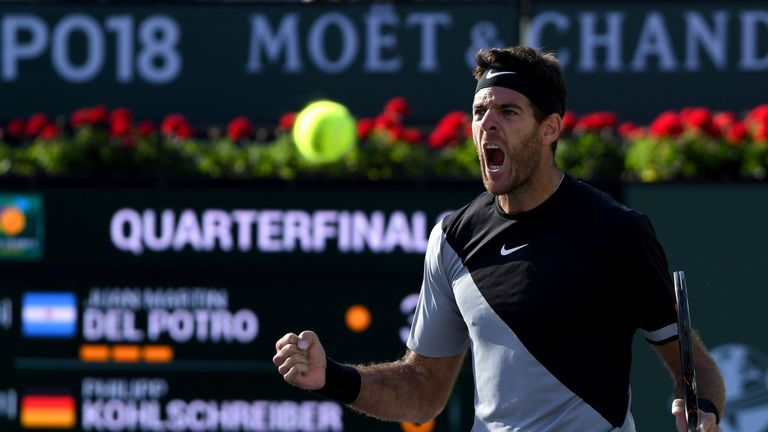 Juan Martin Del Potro of Argentina reacts to match point over Philipp Kohlschreiber of Germany during the BNP Paribas Open at the Indian Wells Tennis Garden on March 16, 2018 in Indian Wells, California