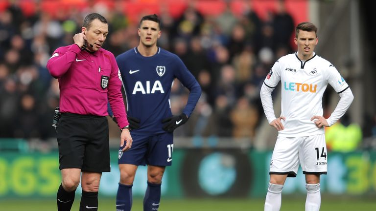 during The Emirates FA Cup Quarter Final match between Swansea City and Tottenham Hotspur at Liberty Stadium on March 17, 2018 in Swansea, Wales.