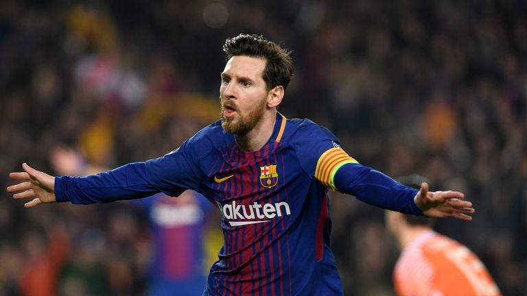 Barcelona's Argentinian forward Lionel Messi celebrates scoring his team's third goal during the UEFA Champions League Round of 16 second leg between Barcelona and Chelsea