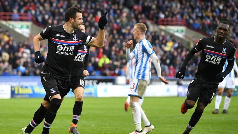 Luka Milivojevic celebrates scoring from the spot for Crystal Palace against Huddersfield