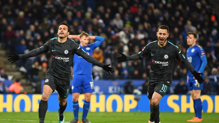 Pedro of Chelsea celebrates as he scores their second goal with Eden Hazard during The Emirates FA Cup Quarter Final match between Leicester City and Chelsea at The King Power Stadium on March 18, 2018 in Leicester, England.