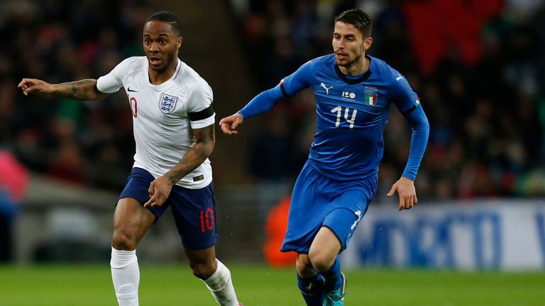Raheem Sterling in action during England's 1-1 draw with Italy at Wembley