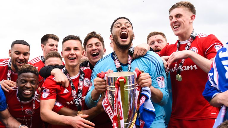 Accrington lifted the trophy after becoming Sky Bet League Two champions (credit: Sky Bet/JMP)