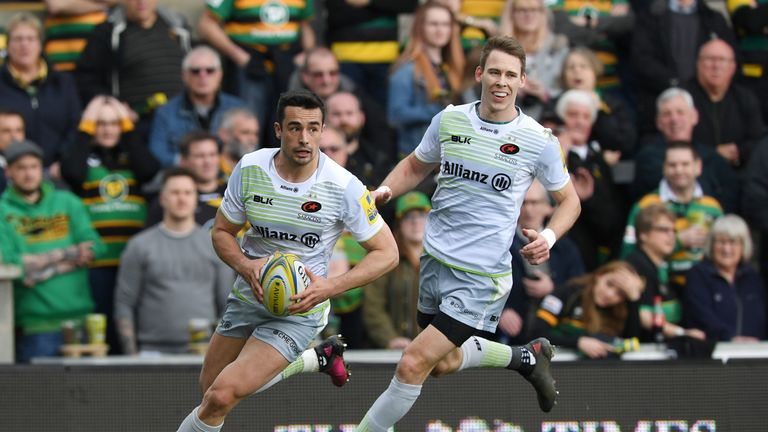 Alex Lozowski scored the first of Saracens' nine tries at Franklin's Gardens