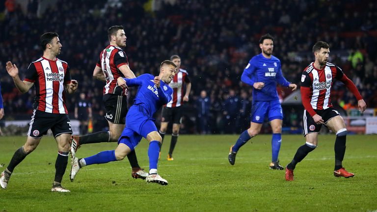 Cardiff City's Anthony Pilkington (second left) scores his side's equaliser at Sheffield United