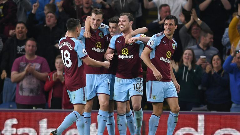 Ashley Barnes celebrates scoring for Burnley against Chelsea
