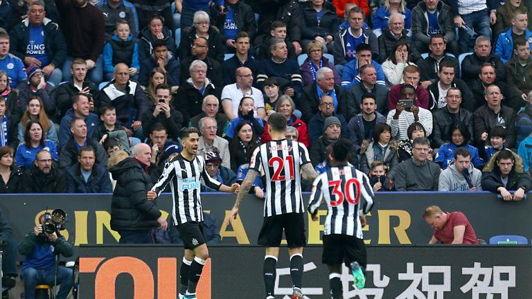 Ayoze Perez celebrates scoring Newcastle's second goal