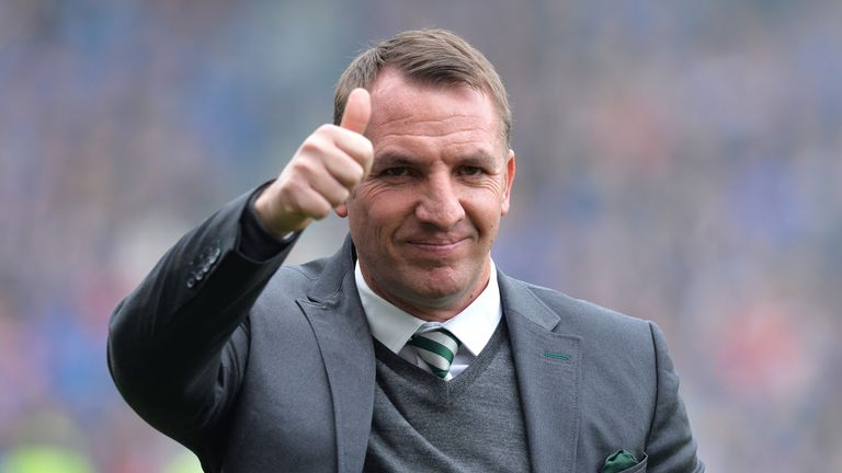 Celtic boss Brendan Rodgers salutes his players after their win over Alashkert